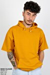 Hardal Sarısı Kısa Kol Kapşonlu Sweatshirt