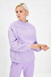 Lila Dik Yaka Loose Örme Şardonlu Sweatshirt TWOAW20SW0584