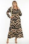 Kadın Vizon Tiger Desen Büyük Beden Maksi Elbise