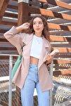 Kadın Vizon Oversize Kruvaze Yaka Blazer Ceket Önden Çift Düğmeli