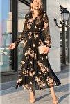 Gül Çiçekli Büyük Beden Şifon Elbise