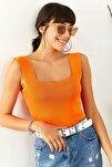 Kadın Turuncu Giyim Kalın Askılı Triko Crop