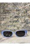 Unisex Mat Mavi Siyah Kare Dikdörtgen Vintage Retro Güneş Gözlüğü