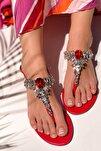 Kadın Kırmızı Taşlı Sandalet
