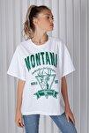 Kadın Beyaz Montana Baskılı Oversize T-shirt