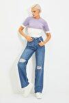 Koyu Mavi Yırtık Detaylı Yüksek Bel Wide Leg Jeans TWOAW21JE0539