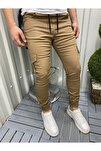 Slim Fit Beli Ve Paçası Lastikli Kargo Cep Pantolon