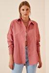 Kadın Koyu Gül Kurusu Oversize Uzun Basic Gömlek DD00842