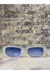 Unisex Mat Şeffaf Mavi Kare Dikdörtgen Vintage Retro Güneş Gözlüğü