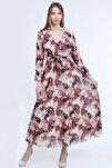 Efsane Çiçekli Kruvaze Yaka Kışaklı Şifon Elbise