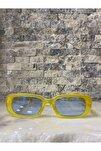 Unisex Mat Sarı Mavi Kare Dikdörtgen Vintage Retro Güneş Gözlüğü