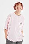 Pudra Erkek Kısa Kollu Baskılı Oversize T-Shirt TMNSS21TS0619