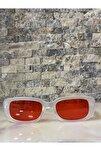 Unisex Mat Şeffaf Kırmızı Kare Dikdörtgen Vintage Retro Güneş Gözlüğü