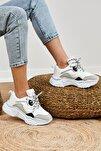Kadın Beyaz Gri Spor Ayakkabı Tb010