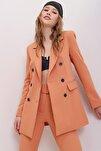 Kadın Kayısı İçi Astarlı Omzu Vatkalı Blazer Ceket ALC-X7032