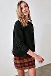 Siyah Reglan Kol Basic Örme Sweatshirt TWOAW20SW0055