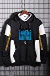 Unisex  Siyah Oversize  California Siyah Pamuk Kapüşonlu Baskılı Sweatshirt