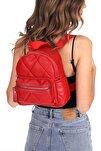 Kadın Kırmızı Kapitone Mini Sırt Çanta