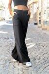 Kadın Siyah Keten Beli Lastikli Salaş Pantolon GK-BST2933
