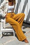 Kadın Hardal Keten Beli Lastikli Salaş Pantolon GK-BST2933