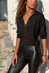 Kadın Siyah Polo Yaka Bluz Gk-BSTM2749