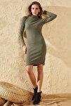 Kadın Haki Dik Balıkçı Yaka Elbise