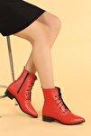 007-01 Cilt Bağcıklı Termo Taban Bayan Bot Ayakkabı