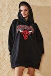 Kadın Siyah Oversize Baskılı Sweatshirt