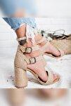 Galilea Naturel Hasır Çift Bantlı Gerçek Hasır Topuklu Sandalet