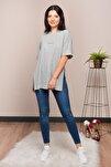 Kadın Gri Yırtmaçlı Lazer Kesim T-shirt