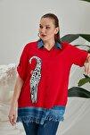 Zürafa Baskılı Püskül Detaylı Büyük Beden Kırmızı Gömlek