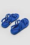 Kadın Mavi Halat Detaylı Sandalet