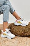Kadın Beyaz Sarı Spor Ayakkabı