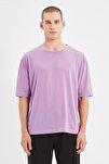 Mor Basic Erkek Bisiklet Yaka Oversize Kısa Kollu T-Shirt TMNSS21TS0811