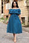 Pertol Madonna Fırfır Yaka Büyük Beden Şifon Elbise