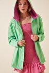Kadın Yeşil Mevsimlik Gabardin Oversize Ceket DP00122