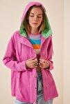 Kadın Koyu Pembe Mevsimlik Gabardin Oversize Ceket DP00122