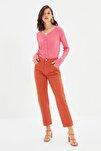 Kahverengi Bel Detaylı Yüksek Bel Straight Jeans TWOSS20JE0425