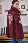 Kadın Bordo Sırtı Çiçek Baskılı Mevsimlik Ceket ARM-20K024030