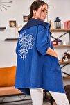 Kadın Saks Sırtı Çiçek Baskılı Mevsimlik Ceket ARM-20K024030
