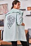 Kadın Mint Sırtı Çiçek Baskılı Mevsimlik Ceket ARM-20K024030