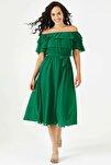 Yeşil Madonna Fırfır Yaka Büyük Beden Şifon Elbise