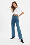 Koyu Mavi Bel Detaylı Yüksek Bel 90's Wide Leg Jeans TWOSS21JE0385