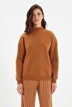 Açık Kahverengi Dik Yaka Loose Örme Şardonlu Sweatshirt TWOAW20SW0584