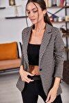 Kadın Vizon Kazayağı Desen Tek Düğmeli Ceket ARM-20K001121