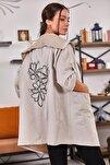Kadın Bej Sırtı Çiçek Baskılı Mevsimlik Ceket ARM-20K024030