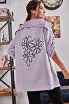 Kadın Lila Sırtı Çiçek Baskılı Mevsimlik Ceket ARM-20K024030