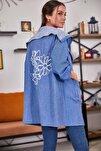 Kadın Mavi Sırtı Çiçek Baskılı Mevsimlik Ceket ARM-20K024030