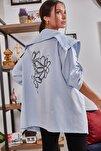 Kadın Bebe Mavi Sırtı Çiçek Baskılı Mevsimlik Ceket ARM-20K024030