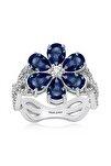 2 Karat Zirkon Mavi Damla Taşlı, Manolya Çiçek Gümüş Yüzük